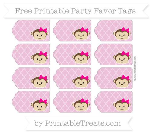 Free Pastel Fuchsia Moroccan Tile Girl Monkey Party Favor Tags