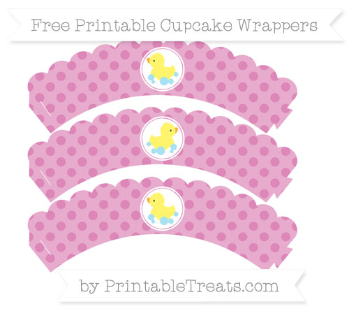 Free Pastel Fuchsia Polka Dot Baby Duck Scalloped Cupcake Wrappers