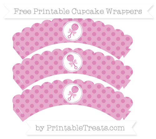 Free Pastel Fuchsia Polka Dot Baby Rattle Scalloped Cupcake Wrappers