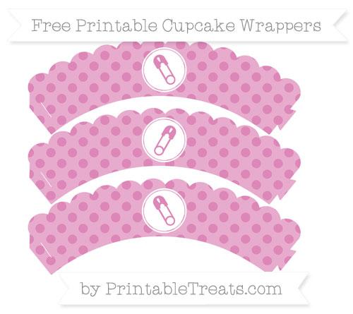 Free Pastel Fuchsia Polka Dot Diaper Pin Scalloped Cupcake Wrappers