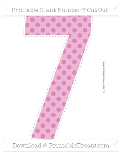 Free Pastel Fuchsia Polka Dot Giant Number 7 Cut Out