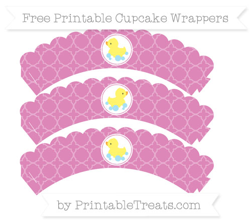 Free Pastel Fuchsia Quatrefoil Pattern Baby Duck Scalloped Cupcake Wrappers