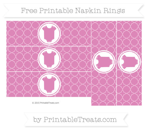 Free Pastel Fuchsia Quatrefoil Pattern Baby Onesie Napkin Rings