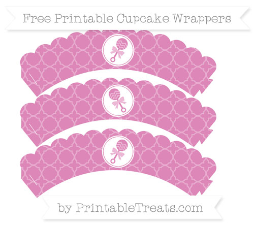 Free Pastel Fuchsia Quatrefoil Pattern Baby Rattle Scalloped Cupcake Wrappers