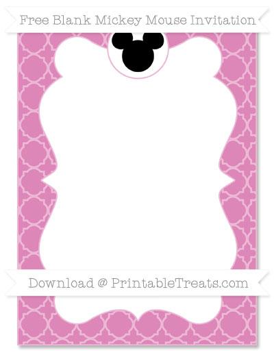 Free Pastel Fuchsia Quatrefoil Pattern Blank Mickey Mouse Invitation