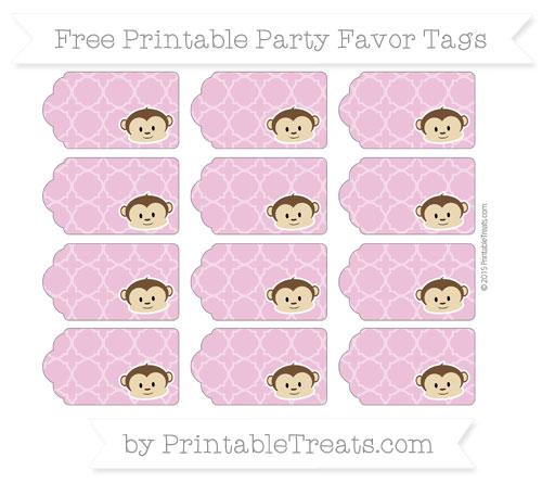 Free Pastel Fuchsia Quatrefoil Pattern Boy Monkey Party Favor Tags