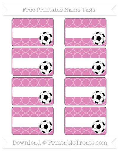 Free Pastel Fuchsia Quatrefoil Pattern Soccer Name Tags