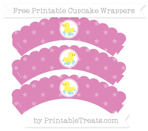 Free Pastel Fuchsia Star Pattern Baby Duck Scalloped Cupcake Wrappers