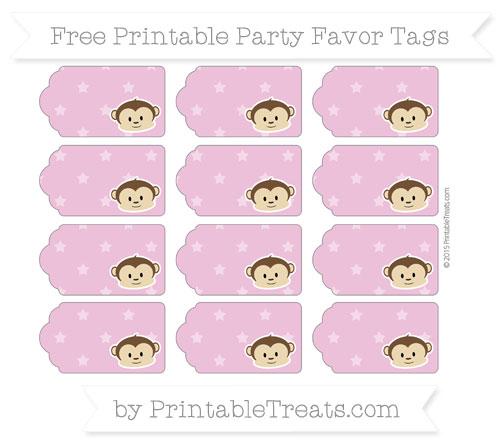 Free Pastel Fuchsia Star Pattern Boy Monkey Party Favor Tags