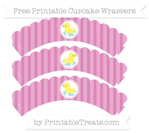 Free Pastel Fuchsia Striped Baby Duck Scalloped Cupcake Wrappers