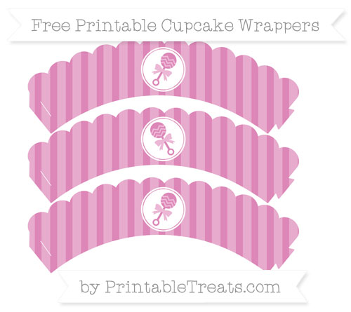 Free Pastel Fuchsia Striped Baby Rattle Scalloped Cupcake Wrappers