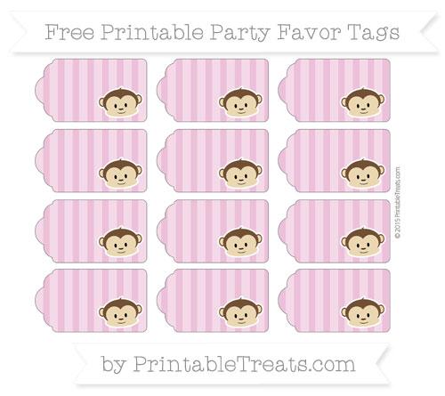Free Pastel Fuchsia Striped Boy Monkey Party Favor Tags