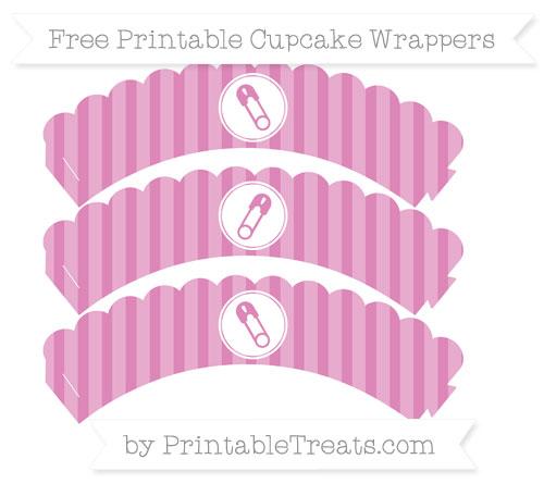 Free Pastel Fuchsia Striped Diaper Pin Scalloped Cupcake Wrappers