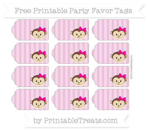 Free Pastel Fuchsia Striped Girl Monkey Party Favor Tags