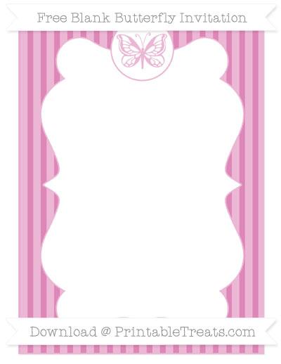 Free Pastel Fuchsia Thin Striped Pattern Blank Butterfly Invitation