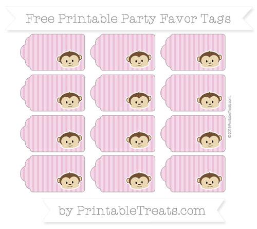 Free Pastel Fuchsia Thin Striped Pattern Boy Monkey Party Favor Tags