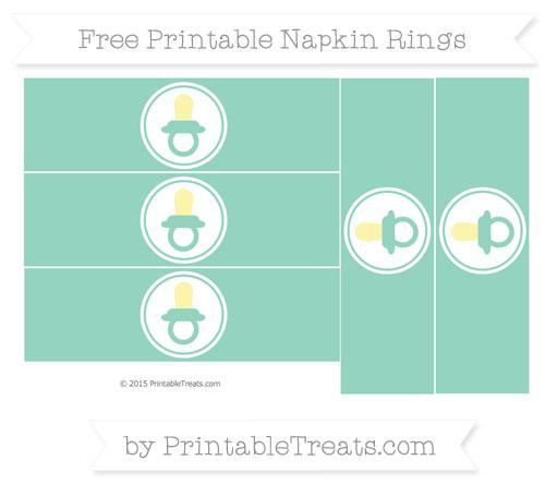 Free Pastel Green Baby Pacifier Napkin Rings