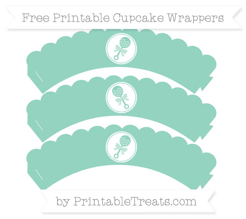 Free Pastel Green Baby Rattle Scalloped Cupcake Wrappers