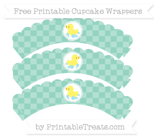 Free Pastel Green Checker Pattern Baby Duck Scalloped Cupcake Wrappers