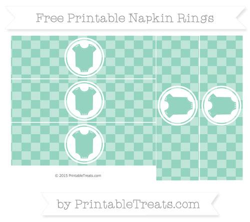 Free Pastel Green Checker Pattern Baby Onesie Napkin Rings