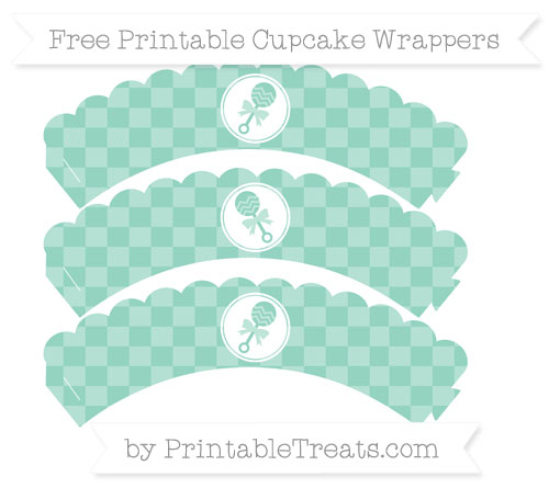 Free Pastel Green Checker Pattern Baby Rattle Scalloped Cupcake Wrappers