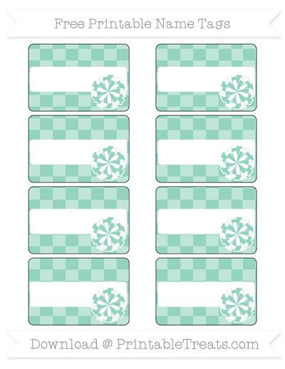 Free Pastel Green Checker Pattern Cheer Pom Pom Tags