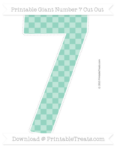 Free Pastel Green Checker Pattern Giant Number 7 Cut Out