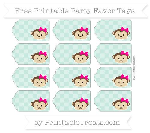 Free Pastel Green Checker Pattern Girl Monkey Party Favor Tags