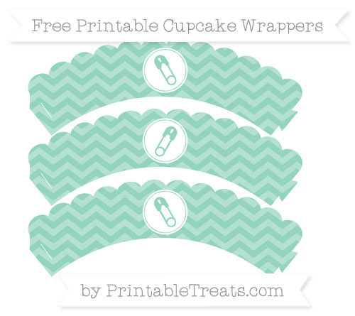 Free Pastel Green Chevron Diaper Pin Scalloped Cupcake Wrappers