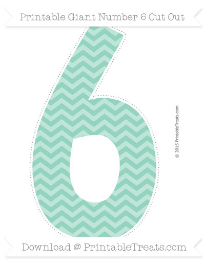 Free Pastel Green Chevron Giant Number 6 Cut Out