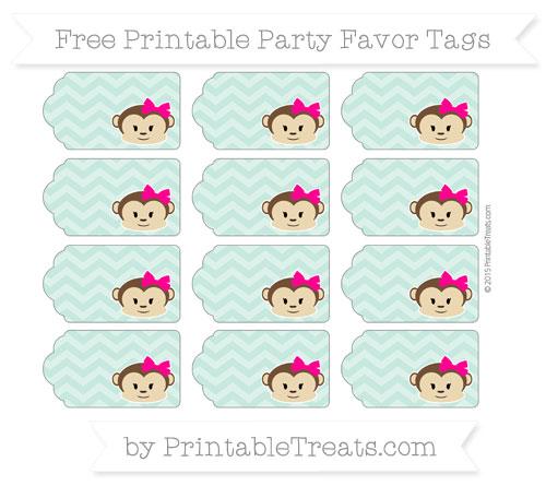 Free Pastel Green Chevron Girl Monkey Party Favor Tags