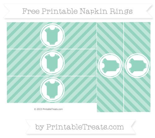 Free Pastel Green Diagonal Striped Baby Onesie Napkin Rings