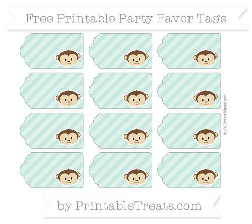 Free Pastel Green Diagonal Striped Boy Monkey Party Favor Tags