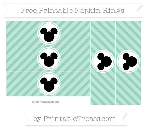 Free Pastel Green Diagonal Striped Mickey Mouse Napkin Rings