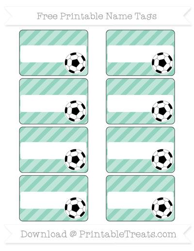 Free Pastel Green Diagonal Striped Soccer Name Tags