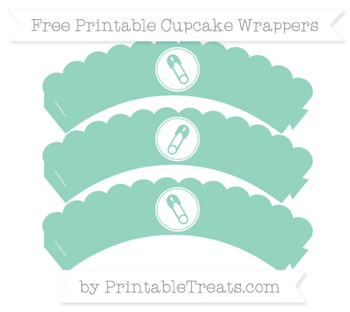 Free Pastel Green Diaper Pin Scalloped Cupcake Wrappers