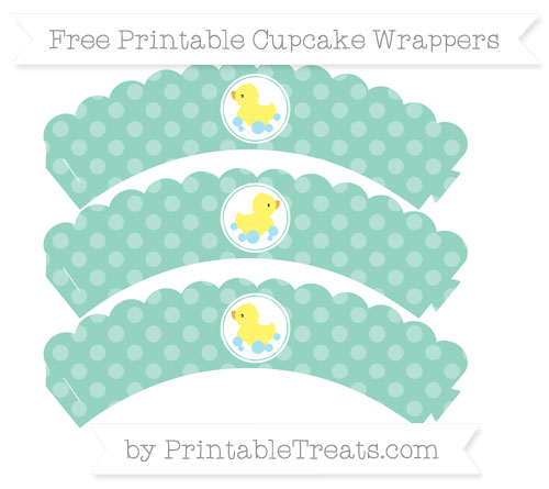 Free Pastel Green Dotted Pattern Baby Duck Scalloped Cupcake Wrappers