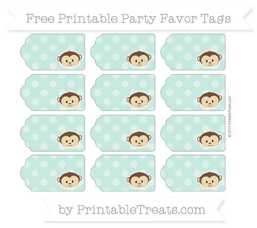 Free Pastel Green Dotted Pattern Boy Monkey Party Favor Tags