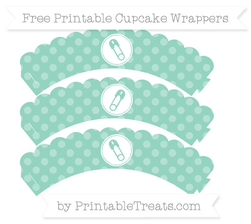 Free Pastel Green Dotted Pattern Diaper Pin Scalloped Cupcake Wrappers