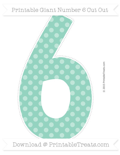 Free Pastel Green Dotted Pattern Giant Number 6 Cut Out