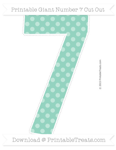 Free Pastel Green Dotted Pattern Giant Number 7 Cut Out