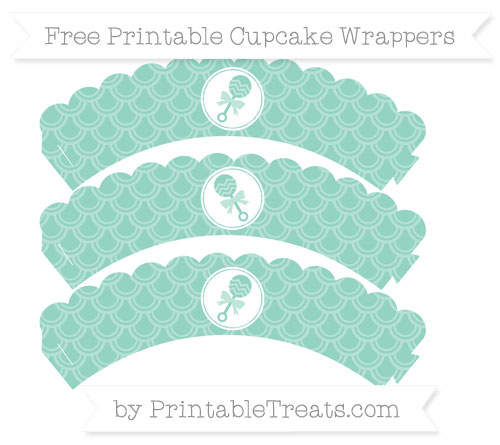 Free Pastel Green Fish Scale Pattern Baby Rattle Scalloped Cupcake Wrappers