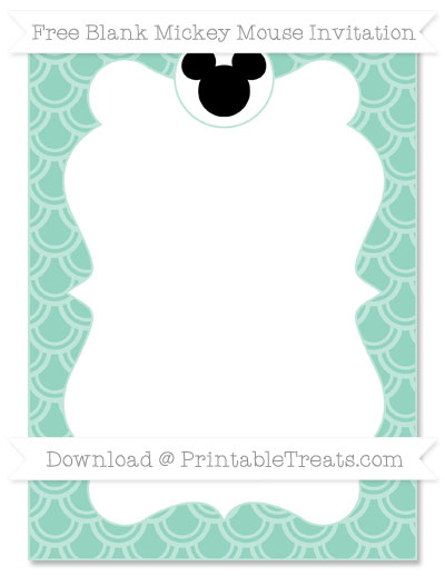 Free Pastel Green Fish Scale Pattern Blank Mickey Mouse Invitation