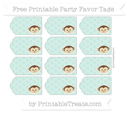 Free Pastel Green Fish Scale Pattern Boy Monkey Party Favor Tags