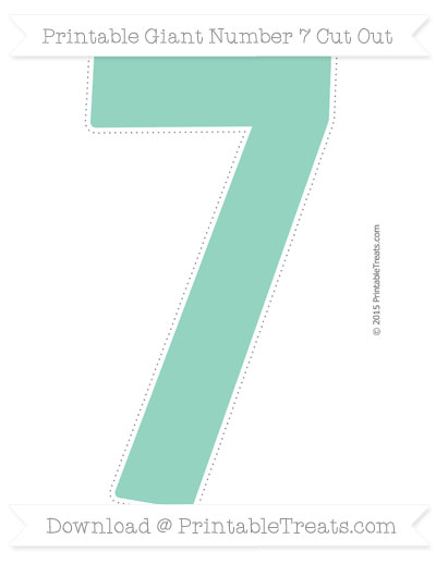 Free Pastel Green Giant Number 7 Cut Out