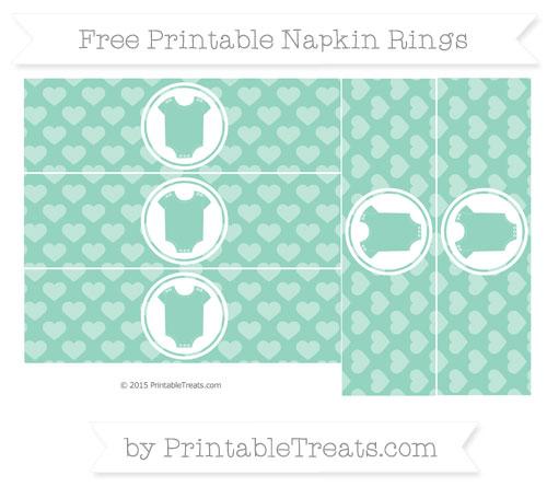Free Pastel Green Heart Pattern Baby Onesie Napkin Rings