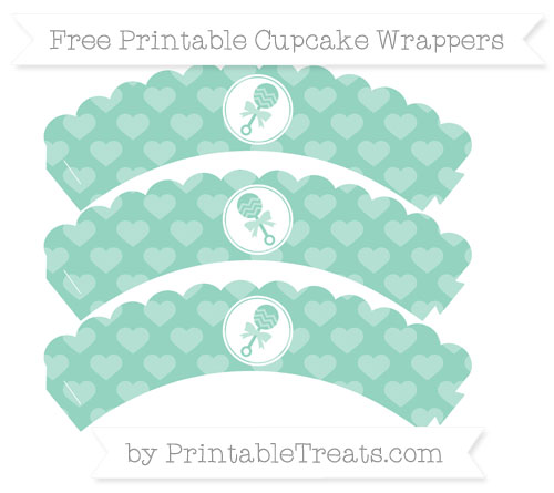Free Pastel Green Heart Pattern Baby Rattle Scalloped Cupcake Wrappers