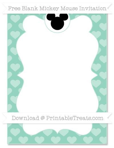 Free Pastel Green Heart Pattern Blank Mickey Mouse Invitation
