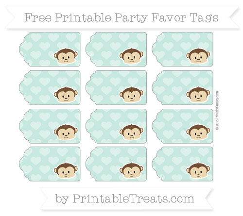 Free Pastel Green Heart Pattern Boy Monkey Party Favor Tags