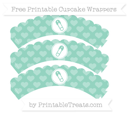 Free Pastel Green Heart Pattern Diaper Pin Scalloped Cupcake Wrappers
